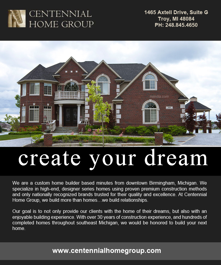 Centennial home group in michigan home builders in for Home builder michigan