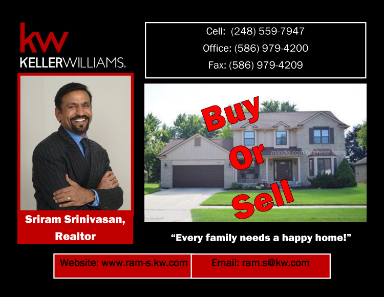Sriram Srinivasan Real Estate Agent in Detroit, Michigan